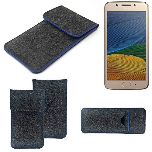K-S-Trade Filz Schutz Hülle Für Lenovo Moto G5 Dual-SIM Schutzhülle Filztasche Pouch Tasche Hülle Sleeve Handyhülle Filzhülle Dunkelgrau, Blauer Rand