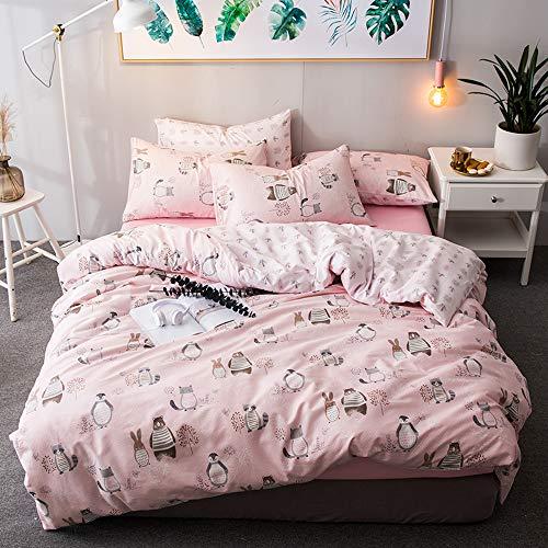 HMTOP Verkauf Weicher Bettwäsche Wendbar 3Stück Flamingos Muster Bettbezug-Set: 1Bettbezug, 2Kissenbezügen Luxus Qualität Weich Atmungsaktiv Modern Langlebig Queen/Full Animal Cartoon