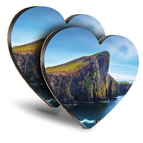 Destination Vinyl ltd Great Posavasos (juego de 2) Corazón Neist Point Isle Of Skye Scotland Drink brillante posavasos / protección de mesa para cualquier tipo de mesa #16384