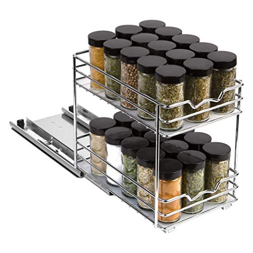 """Pull Out Spice Rack Organizer for Cabinet – Heavy Duty Slide Out Double Rack 6 3/8quotW x103/8quotD x 87/8 H For Upper Kitchen Cabinets and Pantry Closet For Spices Sauces Cans etc 6"""" Between Shelves"""