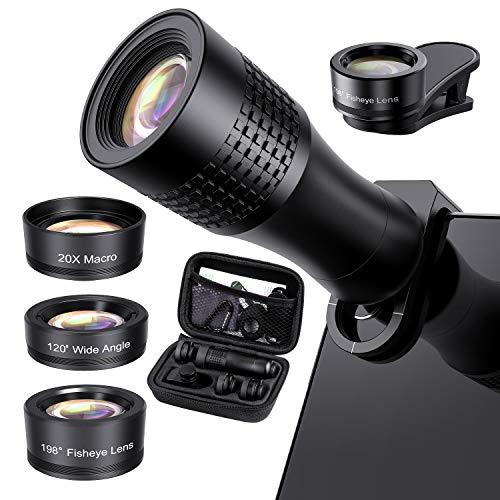 Phone Camera Lens Phone Lens 14X Telephoto Lens, 4K HD 120°Wide Angle Lens&20X Macro Lens, 198°...
