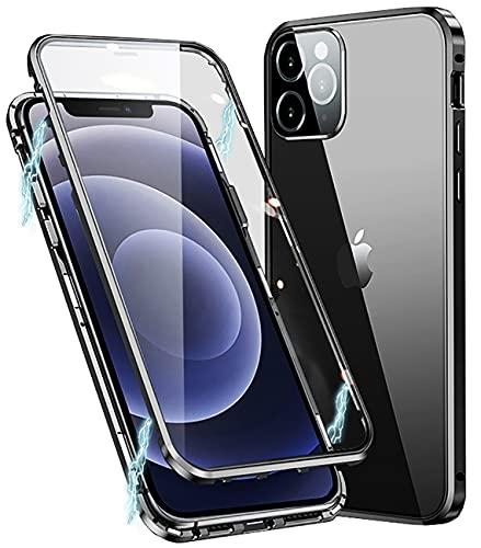 Funda para iPhone 11 Pro MAX,Adsorción Magnética de Metal,360 Grados Protección Case,Transparente Vidrio Templado Case con Protector Cámara,para iPhone 11 Pro MAX Cover Case,Negro