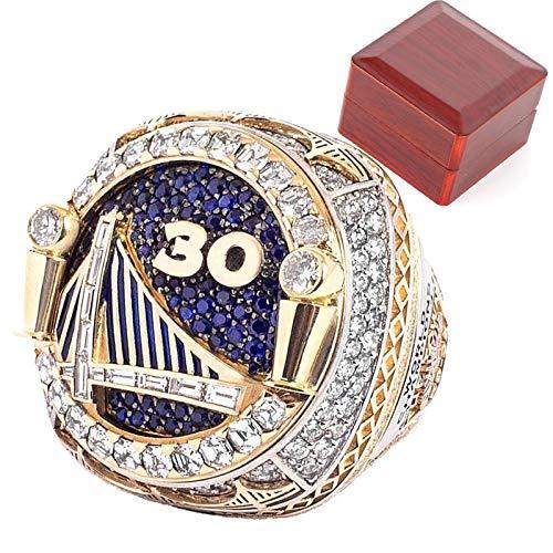 Anillos de campeonato de Golden State Warriors, 2018 Stephen Curry Champion Ring Basketball Réplica personalizada Anillos de diamante para recuerdos de hombres, letras interiores con caja 10