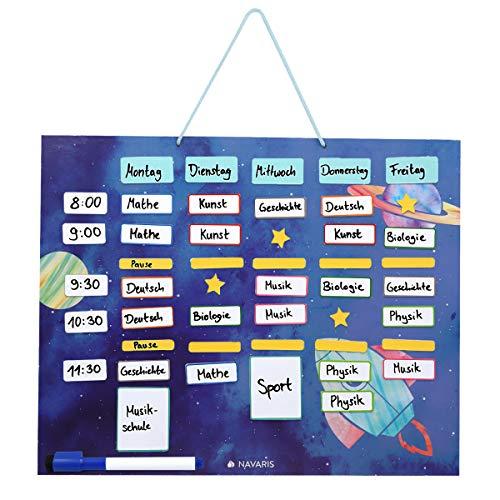 Navaris Horario magnético para niños - Planificador Organizador para la Nevera o Pared - Pizarra para planificar Calendario semanal Escolar - Azul