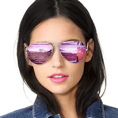 Gafas de Sol Mujer Aviador Espejo Polarizadas de Metal Marco 100% UVA/UVB Protección (Marco de Plata/Lense Púrpura)