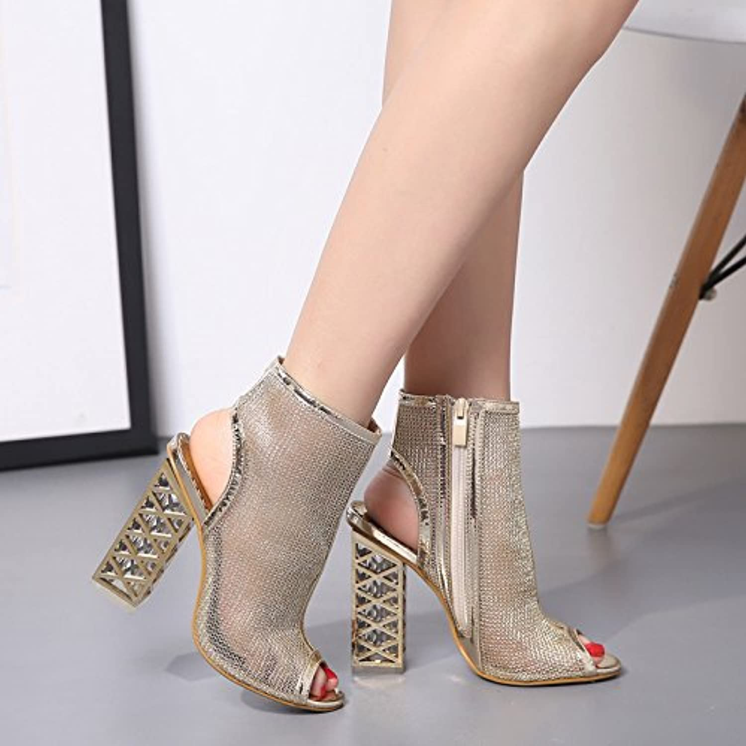 Thick with high-heeled shoes Women's singles new crystal like dew-toe sandals thick with high-heeled shoes Women's singles