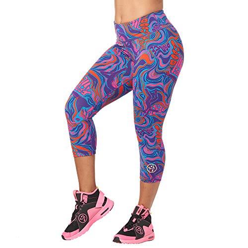 Zumba Dance Fitness Compression Pants Workout Print Capri Leggings for Women, Grape Purple, S