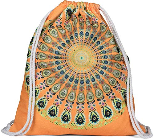 styleBREAKER Damen Turnbeutel mit Buntem Mandala Print im Ethno Style, Rucksack, Sportbeutel, Beutel 02012320, Farbe:Orange