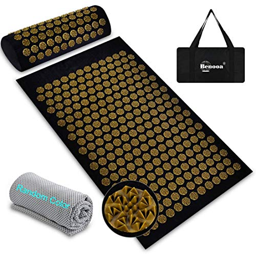 Benooa Acupressure Mat and Pillow Set for Back/Neck Pain Relief Acupuncture Mats Pranamat Massage Mat for Muscle Relaxation Relieves Stress and Sciatic Pain with Carrying Bag 327quotx205quot