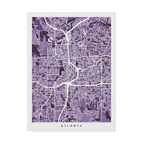 Trademark Fine Art Atlanta Georgia City Map Purple by Michael Tompsett, 24x32