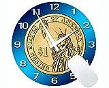 Yanteng Alfombrilla de ratón Redonda de Goma Antideslizante para Juegos, Alfombrilla de ratón Redonda de Goma con Monedas de Reloj de Dinero