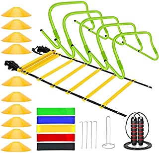 Sports Speed Agility Training Set - Includes Ladder, 20 Cones with Holder, Running Parachute, Jump Rope, Resistance Bands,...