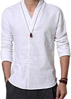 Men's Casual Long Sleeve Solid Gentle Style Natural Linen Henley Popover Shirt