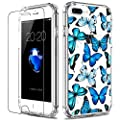 LUHOURI iPhone 8 Plus Case,iPhone 7 Plus Case with Screen Protector,Clear with Floral Flower Designs for Girls Women,Slim Fit Protective Phone Case for iPhone 7 Plus/iPhone 8 Plus Blue Butterflies
