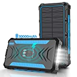 Solar Power Bank 30000mAh Power Bank, Solar Charger,Portable Charger, Outputs 5V/3A High-Speed & 2 Inputs Huge Capacity Phone Charger for Smartphones, IP66 Rating, Strong Light LED Flashlights(Blue)