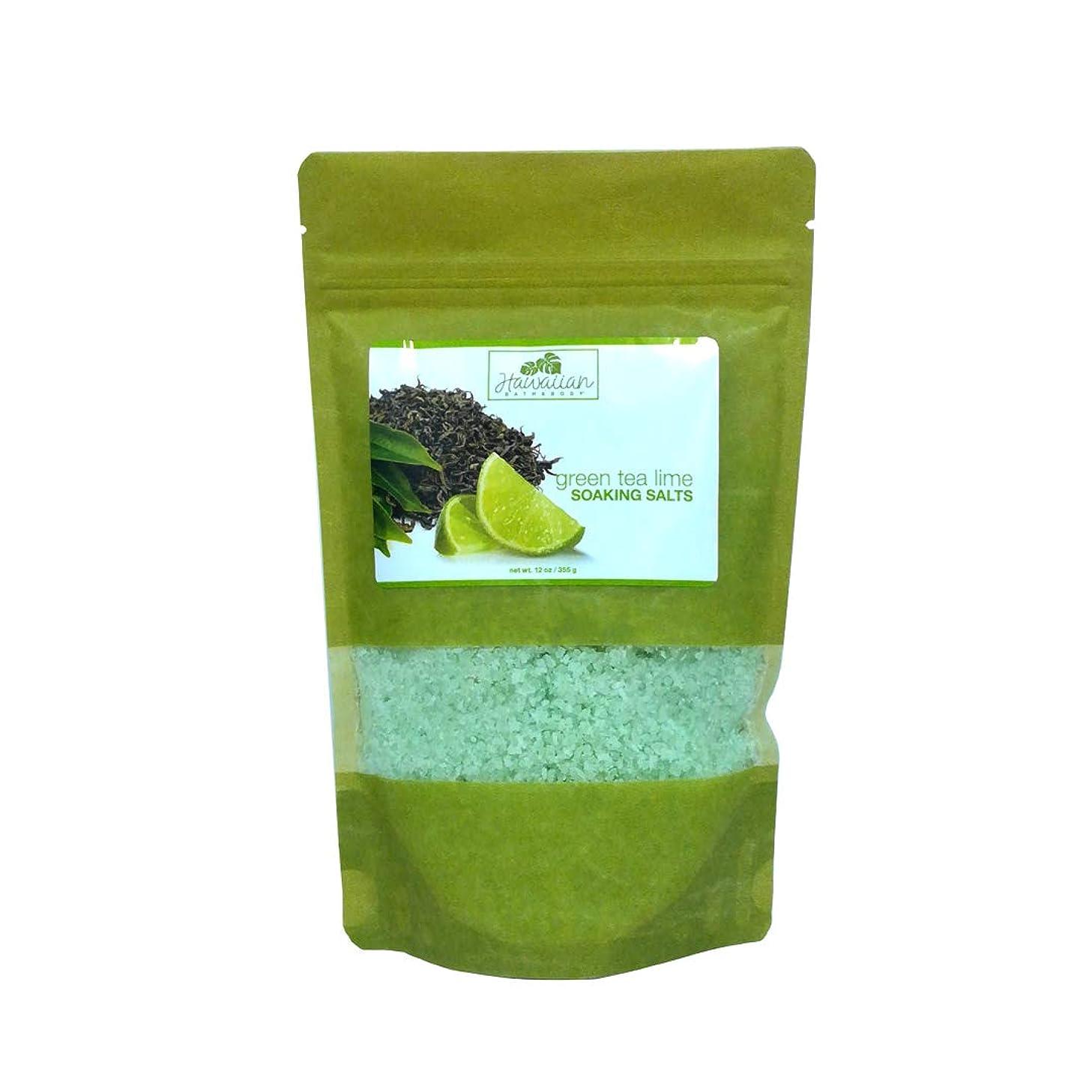 士気予防接種する国ハワイアンバス&ボディ グリーンティー&ライム バスソルト (Bath Salt Green Tea & Lime)