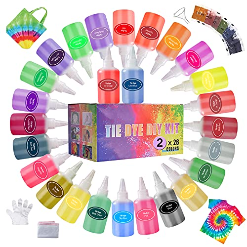 Tie Dye Kit with 52 Dye Packets, 26 Colors Fabric Dye Kit for Kids and Adult...