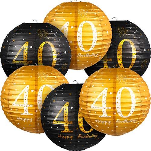 6 Stücke Happy 40. Birthday Hängende Papier Laternen Schwarz Gold Glitzer 40. Jahrestag Party 40. Geburtstag Zeichen Dekoration für 40. Männer Frauen Geburtstag Party Zubehör