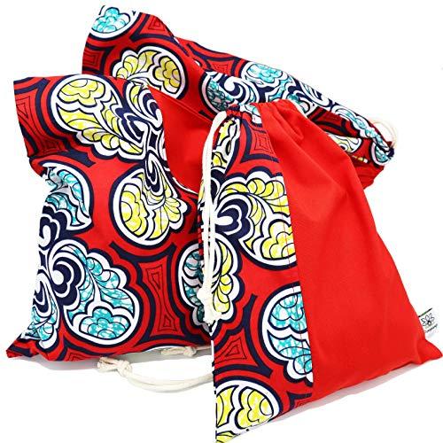 Poropango – Bolsa de almacenamiento organizador de viaje, organizador de equipaje, juego de 3 bolsas 100 % algodón, fabricadas en Francia, Rojo (Wax), 1 sac 23x30 cm, 2 sacs 31x41 cm