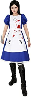 miccostumes Women's Alice Liddell Cosplay Costume Halloween Dress with Apron Skull Pendant