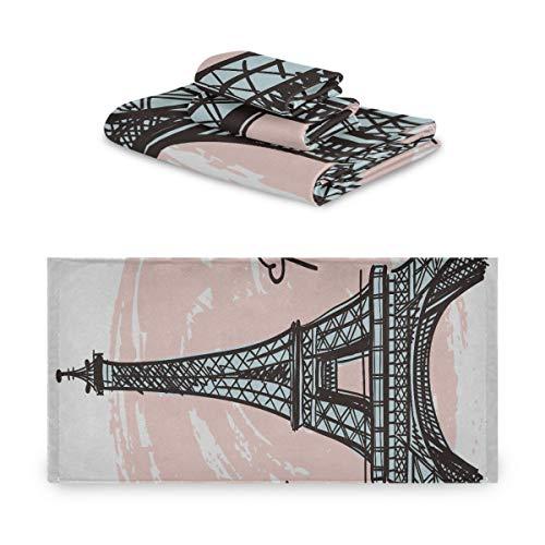 Juego de toallas Mujer Francia Dibujado a mano Romántica Torre Eiffel Juego de toallas personales Extremadamente absorbente, hermoso Juego de toallas de 3 piezas 1 toalla de baño, 1 toalla de mano,