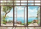 wandmotiv24 Fototapete Große Fenster Ausblick auf Wasser S 200 x 140cm - 4 Teile Fototapeten, Wandbild, Motivtapeten, Vlies-Tapeten Landschaft Natur M6133