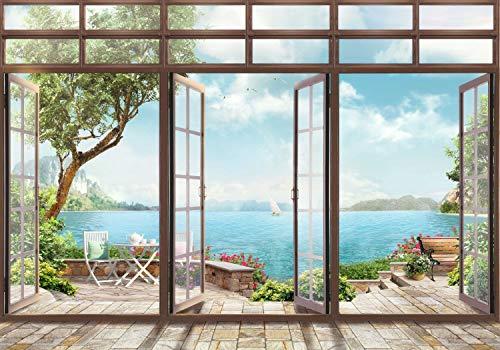 wandmotiv24 Fototapete Große Fenster Ausblick auf Wasser XL 350 x 245 cm - 7 Teile Fototapeten, Wandbild, Motivtapeten, Vlies-Tapeten Landschaft Natur M6133