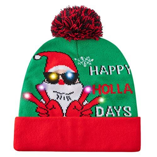 Goodstoworld Cappello Lavorato a Maglia Xmas con Albero a Forma di Albero di Natale con luci a LED