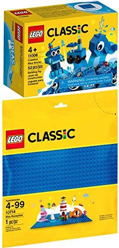 LEGO Classic 2er Set 10714 11006 Blaue Bauplatte + Blaues Kreativ-Set