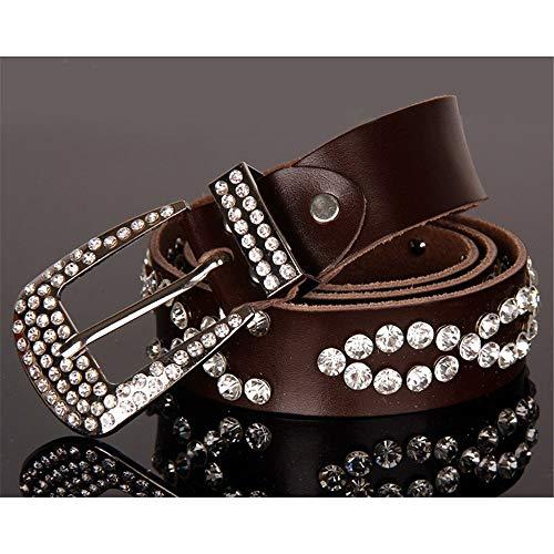 Cinturón de Mujer Ajustable Negro PU Cuero Hebilla Grommet Cinturón Relojes (Color : Café, tamaño : Free Size)