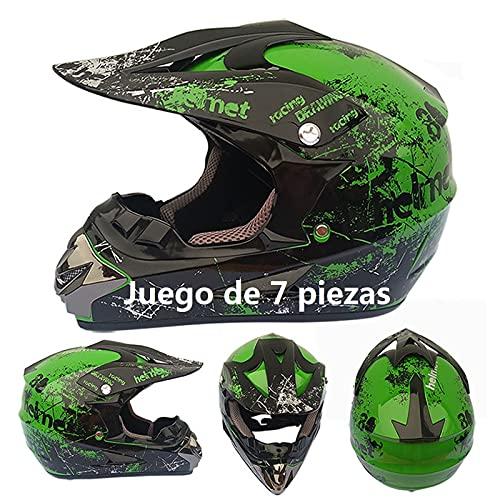 Casco Motocross niño Verde Set de Cascos de Cross con Gafas para Moto Cross Enduro MTB Quad BMX Bicicleta ATV Go-Kart D.O.T Standard Baratos (Juego de 7 Piezas) (S(55-56 CM))