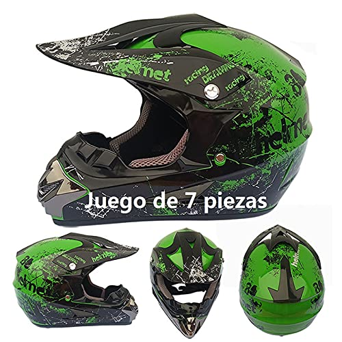 Casco Motocross niño Verde Set de...