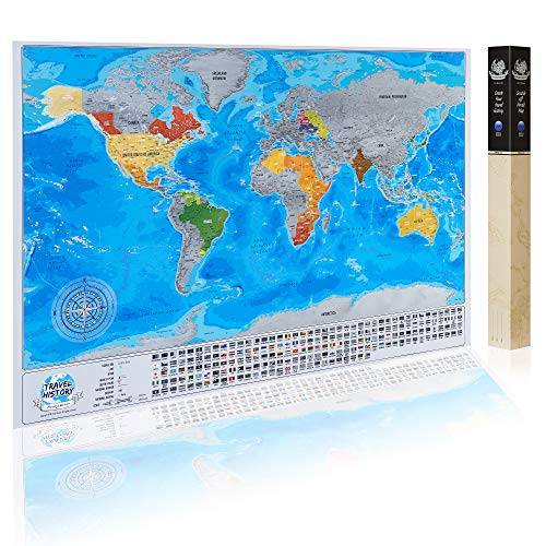 Detailed Scratchable Travel Map with 196 Country Flags, Vibrant Colours, Great Scratchable World Map Gift For Any Traveller.