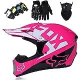 Casco Motocross Niño, Cascos Integrales set Rosa con Guantes/Gafas/Máscara, DTC & ECE Certificación, Cascos Cross Moto para BMX Bicicleta Dirt Bike MTB ATV Offroad DH - con Diseño FOX