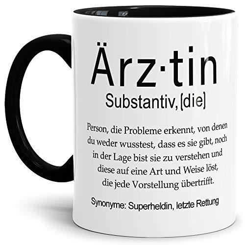 Tassendruck Tasse mit Definition Ärztin - Wörterbuch/Geschenk-Idee/Dictionary/Beruf/Job/Arbeit/Familie/Innen & Henkel Schwarz