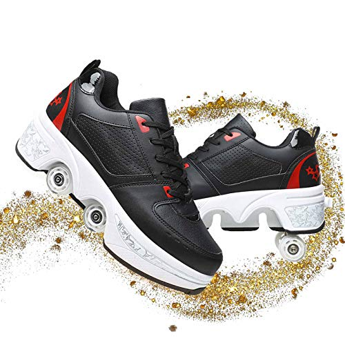 Dytxe-shelf Patines 4 Ruedas Ajustable para Niñas, Patines De Ruedas para Niños, Adolescentes Y Adultos, Multifuncional Doble Fila Deformación Polea Zapatos