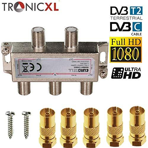 TronicXL 4fach Premium Koax Antennenverteiler HD 3D 4K Verteiler Weiche Splitter zb für DVBT DVBT2 DVBC SAT Unicable Kabelfernsehen Unitymedia Vodafone Kabel Deutschland Kabelfernseh 4er 4-Fach HDTV