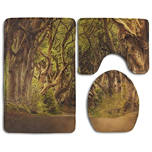 GGdjst 3 Piezas Juego de Alfombra de Baño, Trees Road Home Set of 3 Soft Bath Rug Non-Slip Bathroom Shower Mat