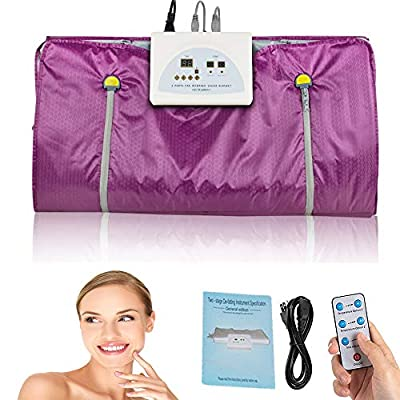 Digital Far-Infrared Heat Sauna Slimming Blanket with Safety Switch,Professional Detox Therapy Anti Ageing Beauty Machine for Body Shape(Sliver/Purple)