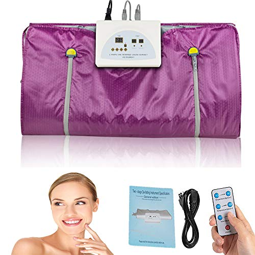 Digital Far-Infrared Heat Sauna Slimming Blanket with Safety Switch,Professional Detox Therapy Anti Ageing Beauty Machine for Body Shape 110V