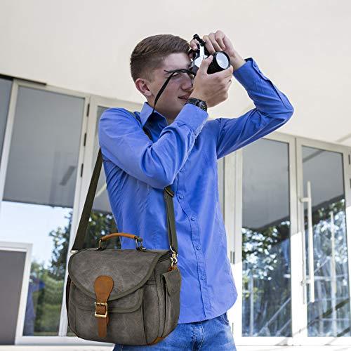 UBAYMAX Canvas DSLR Kameratasche Umhängetasche, wasserdichte Vintage SLR Tasche Fototasche mit Echt Leder Dekoration, Kamera Messenger Sling Schultertasche für Spiegelreflex, Armeegrün