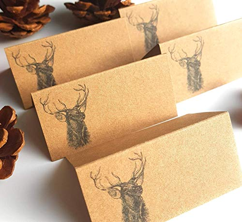 Pack of 12 Stag Christmas Place Cards in Rustic Kraft Brown - Reindeer Dinner Party Guest Name Card
