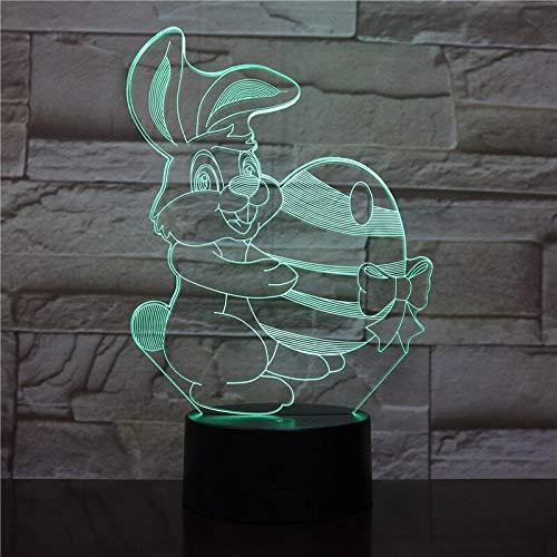 Nettes Häschen-Cartoon-Gadget-Osterhasen-Hasen-Nachtlicht 3D-LED-USB-Tischlampe Kindergeburtstagsgeschenk Nachtzimmerdekoration