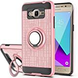 Galaxy Grand Prime Case, Galaxy J2 Prime Case with HD Screen Protector,Ymhxcy 360 Degree Rotating Ring & Bracket Rubber Dual Layer Shock Bumper Resistant Back Cover for Samsung G530H-ZH Rose Gold