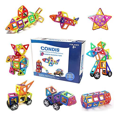 CONDIS Magnetische Bausteine 78 Teile Magnetspielzeug Magnete Kinder Magnetbausteine Magnet Spielzeug Kinder Magnetspiele für Kinder Kinderspielzeug Puzzle Geschenk ab 3 4 5 6 7 Jahre Junge Mädchen