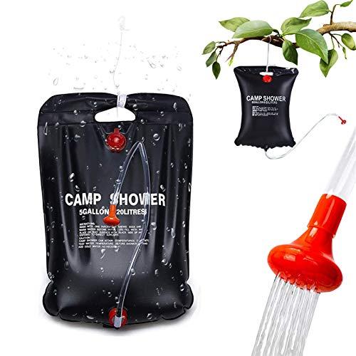 ETHEL Solar Dusche Tasche Solar Campingdusche 20L Solardusche Camping Tragbare Camping Dusche Tasche Warmwasser Duschsack- Camp Shower Outdoordusche mobil