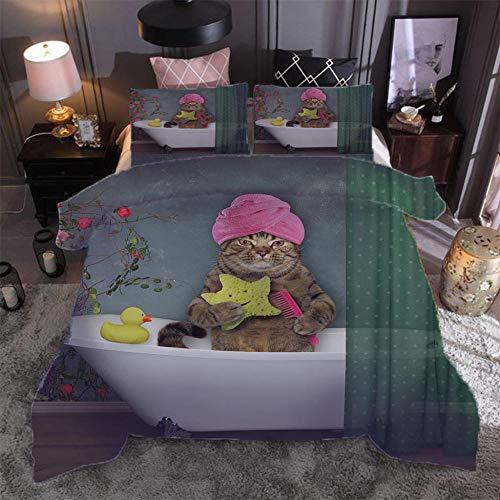 Microfibre 3D Digital Print Three-Piece Set Bath cat Duvet Cover and Two Pillow Cases Microfibre 3D Digital Print Three-Piece Set,200x200cm