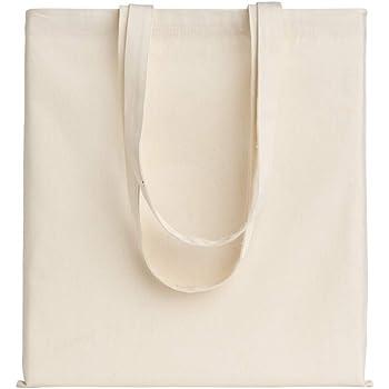 POLHIM-Bolsa Tela 100% Algodón Biodegradable,Lavable,Reutilizable-Asas Largas de 70cm.Para Ropa,Manualidades,Alimentos,Verduras,ir de paseo y Uso Diario.Medidas 38x42cm,Densidad 220gr/m2,Natural: Amazon.es: Hogar
