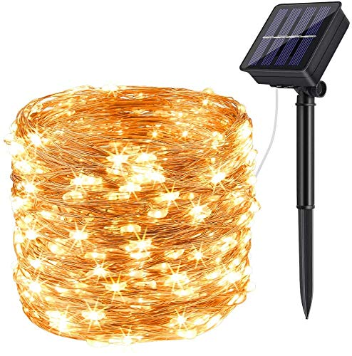 [2 Pack] Ruyilam Solar String Lights, 80 FT 240 LED Outdoor Solar Powered Fairy Lights Waterproof Decoration Copper Wire Lights for Garden,Patio,Yard,Christmas,Wedding,Party.(Warm-White)
