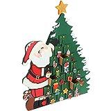 Deuba Calendario Avvento da Riempire Babbo Natale Legno Bambini Decorazione Natalizia